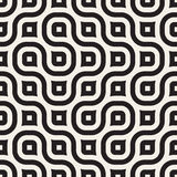 Wektorowy Bezszwowy Falisty Kreskowy Czarny I Biały Geometryczny wzór Fotografia Stock