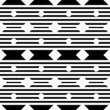 Wektorowy bezszwowy geometryczny wzór z małą polką, diamentem i lampasami, linia kształty, malutcy rhombuses, kwadraty ilustracja wektor