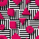 Wektorowy bezszwowy geometryczny wzór Różowi 3d kształty na czarny i biały pasiastym tle Zdjęcia Royalty Free