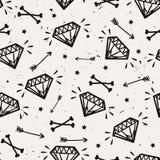 Wektorowy bezszwowy grunge wzór z roczników diamentami, kości Zdjęcie Stock