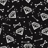 Wektorowy bezszwowy grunge wzór z roczników diamentami, kości Fotografia Royalty Free