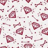 Wektorowy bezszwowy grunge wzór z roczników diamentami, kości Obraz Royalty Free
