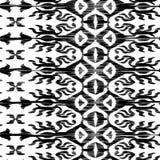 Wektorowy bezszwowy ikat wzór czarny i biały Fotografia Royalty Free