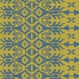 Wektorowy bezszwowy ikat wzoru błękit i kolor żółty Obrazy Stock