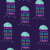 Wektorowy bezszwowy jellyfish wz?r Pod morzem Pod oceanem ilustracji