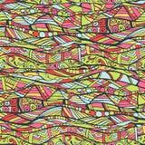 Wektorowy bezszwowy kolorowy wzór, ręka rysująca, doodles Obrazy Royalty Free