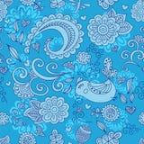 Wektorowy bezszwowy kwiecisty wzór i śliczny ptak błękitny Obraz Royalty Free