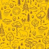 Wektorowy bezszwowy lasu wzór obraz stock
