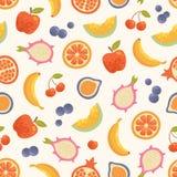 Wektorowy bezszwowy lato owoc tło Fotografia Royalty Free