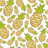 Wektorowy bezszwowy lato wzór z koloru ananasem Jaskrawy śliczny Zdjęcia Stock