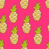 Wektorowy bezszwowy lato wzór z koloru ananasem Jaskrawy śliczny Obraz Royalty Free