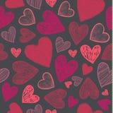Wektorowy bezszwowy miłość wzór z ręki rysującymi nakreśleń sercami Rewolucjonistka na ciemnym tle, use jako tkanina, Obraz Stock