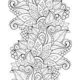 Wektorowy Bezszwowy Monochromatyczny Kwiecisty wzór royalty ilustracja