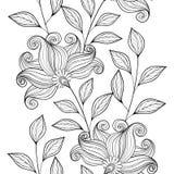 Wektorowy Bezszwowy Monochromatyczny Kwiecisty wzór ilustracja wektor