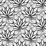 Wektorowy Bezszwowy Monochromatyczny Kwiecisty wzór Obrazy Stock