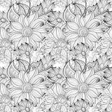 Wektorowy Bezszwowy Monochromatyczny Kwiecisty wzór Obrazy Royalty Free