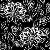 Wektorowy Bezszwowy Monochromatyczny Kwiecisty wzór Zdjęcie Stock