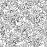 Wektorowy Bezszwowy Monochromatyczny Kwiecisty wzór Zdjęcie Royalty Free