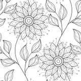 Wektorowy Bezszwowy Monochromatyczny Kwiecisty wzór ilustracji