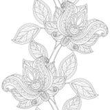 Wektorowy Bezszwowy Monochromatyczny Kwiecisty wzór Zdjęcia Royalty Free