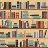 Wektorowy bezszwowy półka na książki wzór, przypadkowe książki na półkach, beżowy tło Royalty Ilustracja