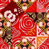 Wektorowy bezszwowy patchworku wzór orientalny lub rosyjski projekt royalty ilustracja