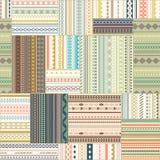 Wektorowy bezszwowy patchworku wzór Roczników etniczni plemienni seamles Zdjęcia Royalty Free