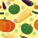 Wektorowy bezszwowy pettern z oberżyną, banią, kabaczkiem i zucchini, Zdjęcie Stock