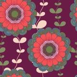 Wektorowy bezszwowy pociągany ręcznie wzór z kwiatami i liśćmi Obraz Royalty Free