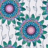 Wektorowy bezszwowy pociągany ręcznie wzór z kwiatami i liśćmi Obrazy Stock