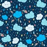 Wektorowy bezszwowy podeszczowy tematu wzór Kolorowy doodling jesień projekt z chmurami royalty ilustracja