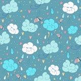 Wektorowy bezszwowy podeszczowy tematu wzór Kolorowy doodling jesień projekt z chmurami ilustracji