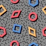 Wektorowy bezszwowy retro Memphis wzór z geometrycznymi elementami Zdjęcie Stock