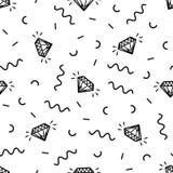 Wektorowy bezszwowy retro Memphis wzór z roczników diamentami Obrazy Stock