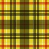 Wektorowy bezszwowy szkocki tartanu wzór w kolorze żółtym, czerni, bielu i czerwieni, Royalty Ilustracja