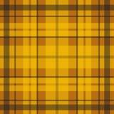 Wektorowy bezszwowy szkocki tartanu wzór w kolorze żółtym, pomarańcze i brązie, Ilustracji