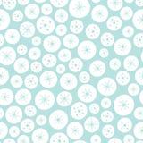 Wektorowy bezszwowy tło wzór Bożenarodzeniowe gwiazdy i okręgi biali i błękitni Nawierzchniowy deseniowy projekta tło ilustracja wektor
