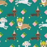 Wektorowy bezszwowy tło dla projekta urodziny Uroczy psy, prezenty, gwiazdy ilustracji
