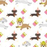 Wektorowy bezszwowy tło dla projekta urodziny Uroczy psy, prezenty, gwiazdy royalty ilustracja