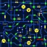 Wektorowy bezszwowy tło elektryczny obwód radiowy przyrządu opór, tranzystor, dioda, capacitor, induktor Zdjęcie Royalty Free