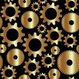 Wektorowy bezszwowy tło w technika stylu z złotymi przekładniami Zdjęcia Royalty Free