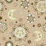 Wektorowy bezszwowy tło z słońcem i gwiazdami ilustracja wektor