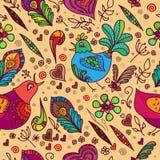 Wektorowy Bezszwowy tło z ptakami i kwiatami Zdjęcia Stock