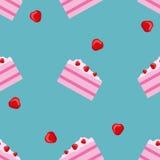 Wektorowy bezszwowy torta i truskawki wzór Projekt dla kart, menu, tkanina, tkanina Cukierki z wanilią, truskawką i śmietanką, Ilustracja Wektor
