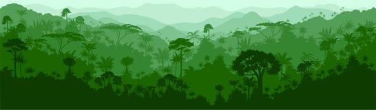 Wektorowy bezszwowy tropikalny tropikalnego lasu deszczowego Colombia Brazil dżungli tło royalty ilustracja