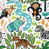 Wektorowy bezszwowy tropikalny wzór z dekoracyjnymi zwierzęcymi charakterami Obrazy Royalty Free