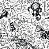 Wektorowy bezszwowy tropikalny wzór z dekoracyjnymi zwierzęcymi charakterami w konturze Zdjęcia Royalty Free