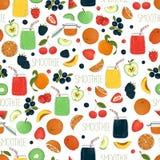 Wektorowy bezszwowy tupocze kolorowi owocowi, jagodowi smoothies i owoc i jagodami w szklanych słojach z ilustracji