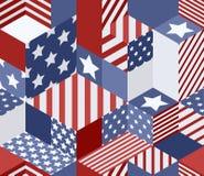 Wektorowy bezszwowy usa flaga wzór 3d sześcianów isometric tło w flaga amerykańska kolorach ilustracja wektor