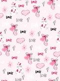 Wektorowy bezszwowy valentine ` s dnia wzór od doodle ręki rysujących serc, flovers i miłość etykietek, ilustracja wektor